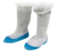Schoenovertrek wit-blauw met anti-slip zool